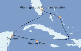 Itinéraire de la croisière Caraïbes de l'Ouest 8 jours à bord du ms Eurodam