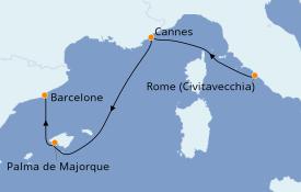 Itinéraire de la croisière Méditerranée 4 jours à bord du MSC Seaview