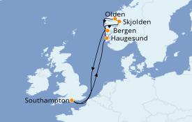 Itinéraire de la croisière Fjords & Norvège 8 jours à bord du Regal Princess