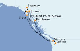 Itinéraire de la croisière Alaska 11 jours à bord du Norwegian Sun