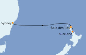 Itinéraire de la croisière Australie 2019 5 jours à bord du Sea Princess