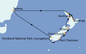 Itinéraire de la croisière Australie 2021 14 jours à bord du Emerald Princess