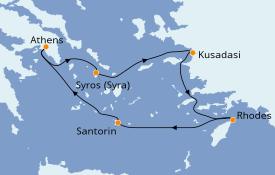 Itinéraire de la croisière Grèce & Adriatique 5 jours à bord du Celestyal Olympia