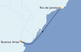 Itinéraire de la croisière Amérique du Sud 5 jours à bord du MSC Preziosa