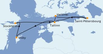 Itinéraire de la croisière Mer Baltique 8 jours à bord du Adventure of the Seas