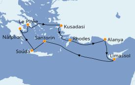Itinéraire de la croisière Grèce & Adriatique 10 jours à bord du Silver Moon