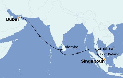 Itinéraire de la croisière Asie 12 jours à bord du Queen Elizabeth