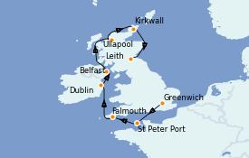 Itinéraire de la croisière Îles Britanniques 10 jours à bord du Silver Whisper