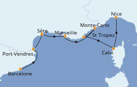 Itinéraire de la croisière Méditerranée 8 jours à bord du Azamara Journey