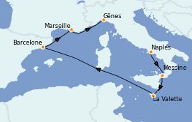 Itinéraire de la croisière Méditerranée 7 jours à bord du MSC Fantasia