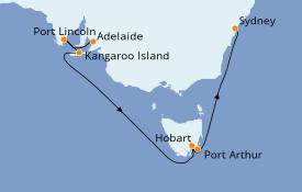 Itinéraire de la croisière Australie 2020 8 jours à bord du Sapphire Princess