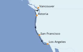 Itinéraire de la croisière Californie 6 jours à bord du Emerald Princess