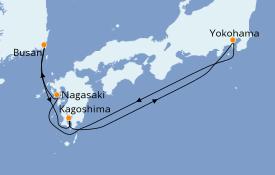 Itinéraire de la croisière Asie 7 jours à bord du Diamond Princess