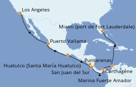 Itinéraire de la croisière Riviera Mexicaine 16 jours à bord du Crown Princess