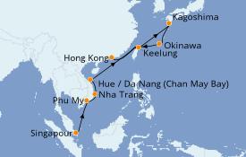 Itinéraire de la croisière Asie 15 jours à bord du Celebrity Millenium