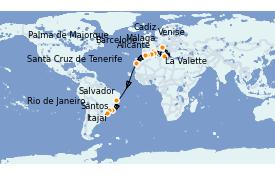 Itinéraire de la croisière Transatlantiques et Grands Voyages 2021 22 jours à bord du MSC Sinfonia