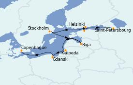 Itinéraire de la croisière Mer Baltique 12 jours à bord du Le Champlain