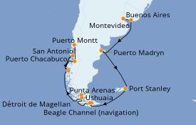 Itinéraire de la croisière Amérique du Sud 15 jours à bord du Norwegian Star