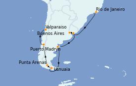 Itinéraire de la croisière Tour du Monde 2022 20 jours à bord du MSC Poesia