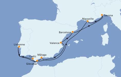 Itinéraire de la croisière Méditerranée 10 jours à bord du Costa Fascinosa