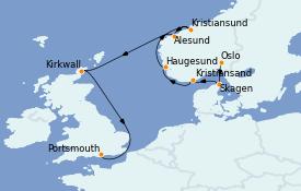 Itinéraire de la croisière Fjords & Norvège 11 jours à bord du MS Marina