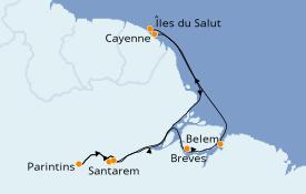 Itinéraire de la croisière Amérique du Sud 13 jours à bord du Le Dumont d'Urville
