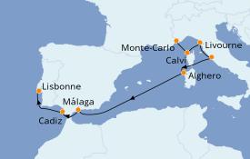 Itinéraire de la croisière Méditerranée 9 jours à bord du Silver Moon