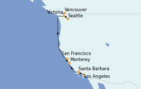 Itinéraire de la croisière Californie 9 jours à bord du Seabourn Odyssey