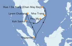 Itinéraire de la croisière Asie 15 jours à bord du Celebrity Eclipse