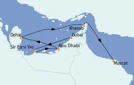 Itinéraire de la croisière Dubaï - Emirats 9 jours à bord du Le Bougainville
