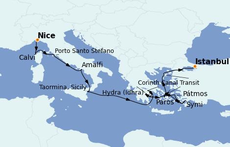 Itinéraire de la croisière Grèce & Adriatique 13 jours à bord du Le Bougainville