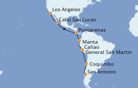 Itinéraire de la croisière Riviera Mexicaine 19 jours à bord du Coral Princess