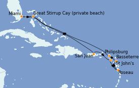 Itinerario de crucero Caribe del Este 11 días a bordo del Seven Seas Explorer