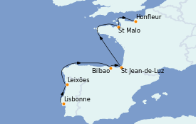 Itinéraire de la croisière Atlantique 9 jours à bord du Le Boréal