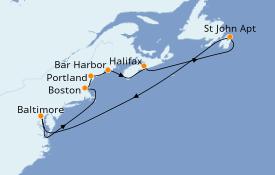 Itinéraire de la croisière Canada 10 jours à bord du Grandeur of the Seas