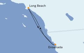 Itinéraire de la croisière Californie 4 jours à bord du Carnival Inspiration