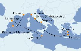 Itinéraire de la croisière Méditerranée 13 jours à bord du Norwegian Epic
