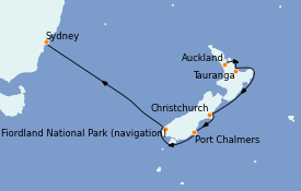 Itinéraire de la croisière Australie 2021 9 jours à bord du Coral Princess