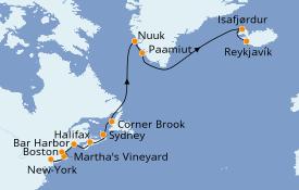 Itinéraire de la croisière Canada 16 jours à bord du Seven Seas Navigator
