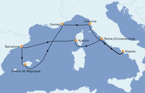 Itinéraire de la croisière Méditerranée 7 jours à bord du Norwegian Epic