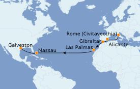 Itinéraire de la croisière Transatlantiques et Grands Voyages 2020 16 jours à bord du Jewel of the Seas