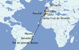 Itinéraire de la croisière Transatlantiques et Grands Voyages 2022 19 jours à bord du MSC Preziosa