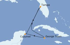 Itinéraire de la croisière Caraïbes de l'Ouest 6 jours à bord du Carnival Paradise