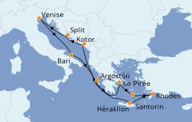 Itinéraire de la croisière Grèce & Adriatique 11 jours à bord du Costa Victoria
