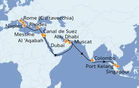 Itinéraire de la croisière Méditerranée 28 jours à bord du Sapphire Princess