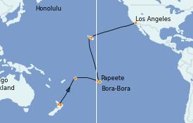 Itinéraire de la croisière Australie 2022 24 jours à bord du Emerald Princess