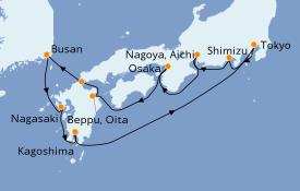 Itinéraire de la croisière Asie 11 jours à bord du Norwegian Sun