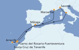 Itinéraire de la croisière Méditerranée 12 jours à bord du Costa Favolosa