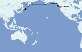 Itinéraire de la croisière Alaska 18 jours à bord du Silver Muse