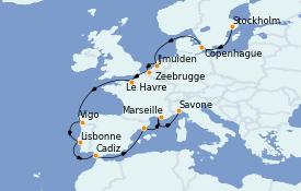 Itinéraire de la croisière Méditerranée 16 jours à bord du Costa Favolosa